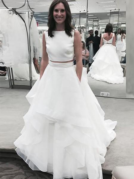 Corte en A/Princesa Escote Barco Sin Mangas Chifón Cola de Corte Real Vestidos de Novia