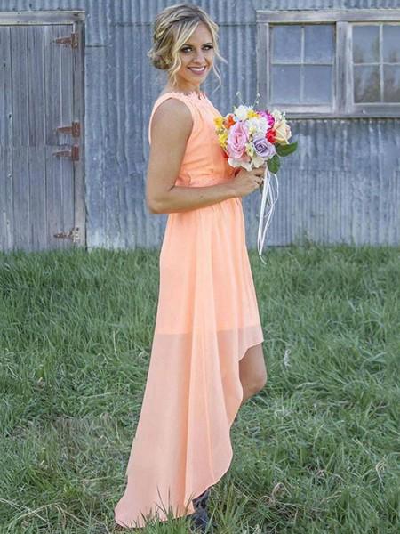 Corte en A/Princesa Sin Mangas Escote en U Asimétrico Chifón Vestidos de dama de honor