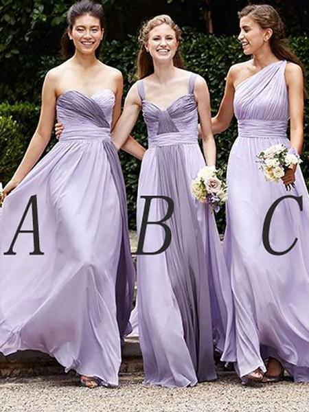 Corte en A/Princesa Sin Mangas Chifón Hasta el Suelo Vestidos de dama de honor