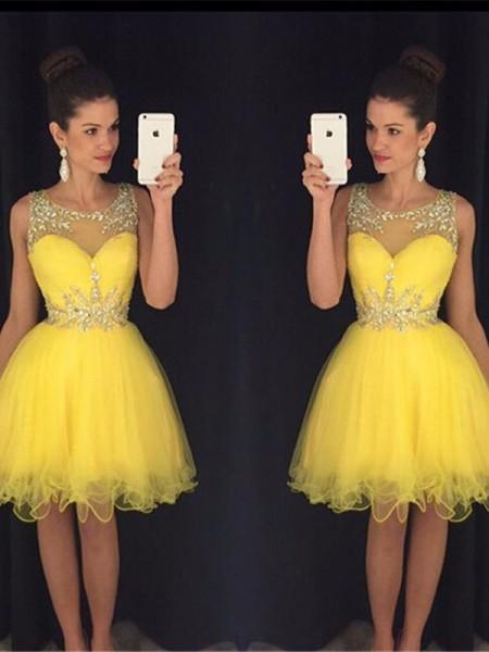 Corte en A/Princesa Escote en U Sin Mangas Abalorios Tul Corto/Mini Vestidos