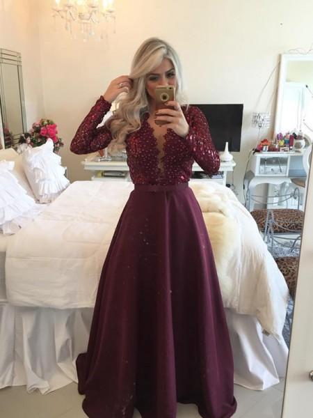 Corte en A/Princesa Escote en U Manga Larga Lentejuelas Hasta el Suelo Satén Vestidos