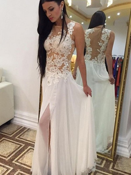 Corte en A/Princesa Escote en U Sin Mangas Hasta el Suelo Apliques Gasa Vestidos