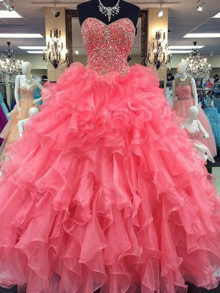 Evasé Escote de Corazón Sin Mangas Hasta el Suelo Abalorios Organza Vestidos