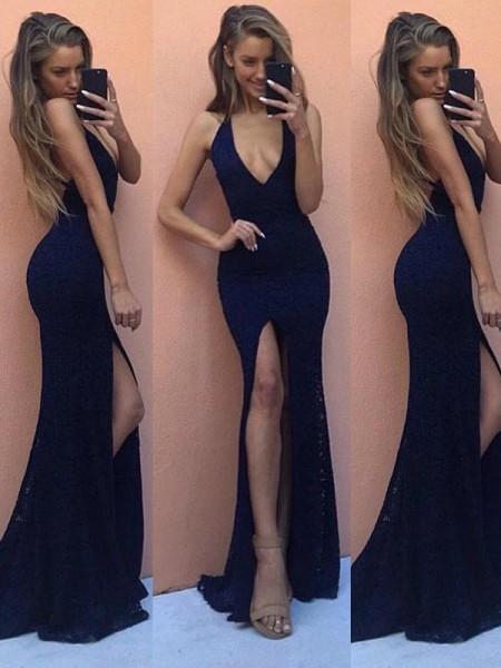 Ajustado/Tipo Columna Sin Mangas Cordón Escote en V Hasta el Suelo Vestidos