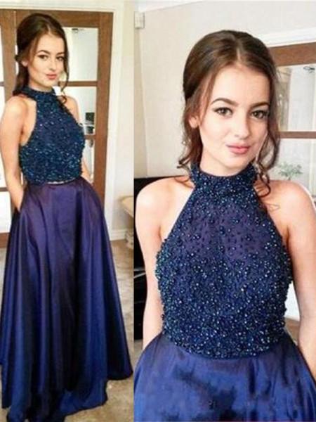 Corte en A/Princesa Escote Halter Sin Mangas Hasta el Suelo Abalorios Satén Vestidos