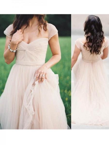 Corte en A/Princesa Escote de Corazón Sin Mangas Hasta el Suelo Fruncido Gasa Vestidos