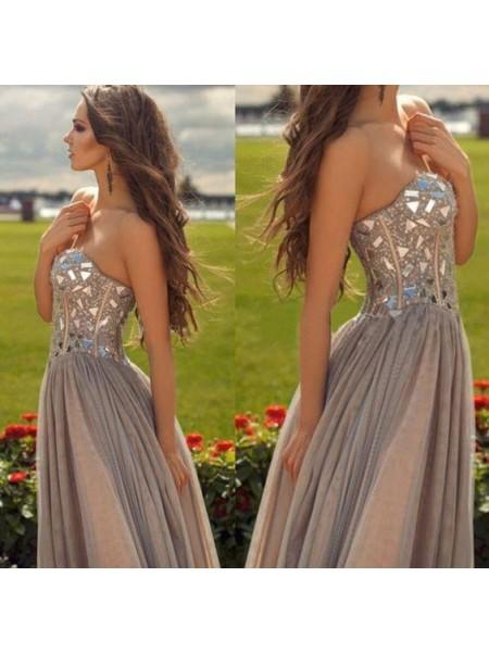 Corte en A/Princesa Escote de Corazón Sin Mangas Gasa Abalorios Hasta el Suelo Vestidos