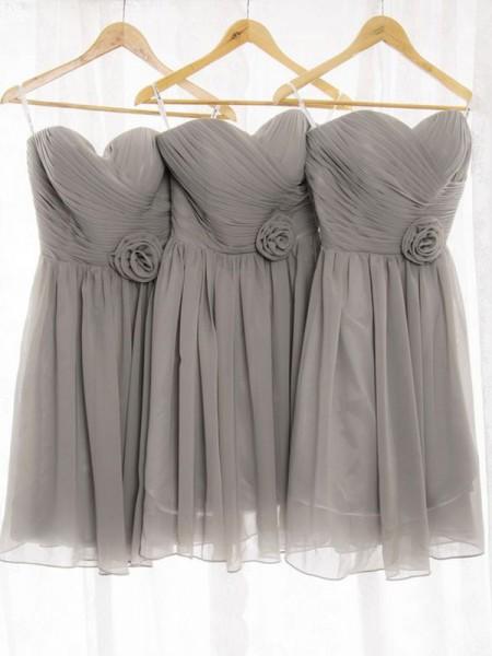 Corte en A/Princesa Escote de Corazón Sin Mangas Gasa Corto/Mini Vestidos de dama de honor