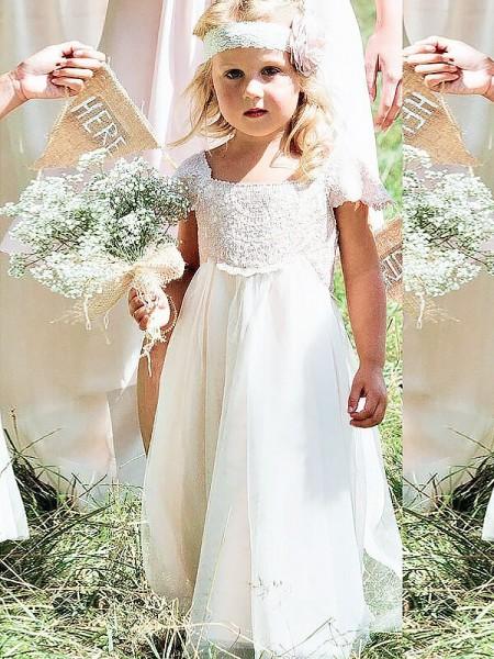 Corte en A/Princesa Escote Cuadrado Manga Corta Encaje Hasta el Suelo Gasa Vestidos de Arras