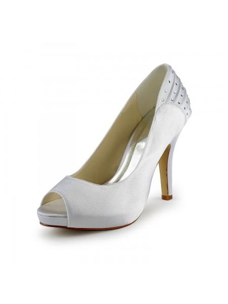 De las mujeres Satén Tacón de Aguja Zapato Abierto por Delante Con Estrás Blanco Zapatos de boda