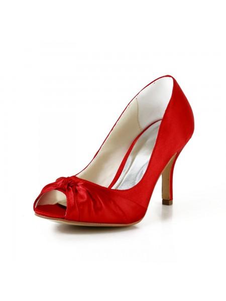 De las mujeres Pretty Satén Tacón de Aguja Pumps Red Zapatos de boda