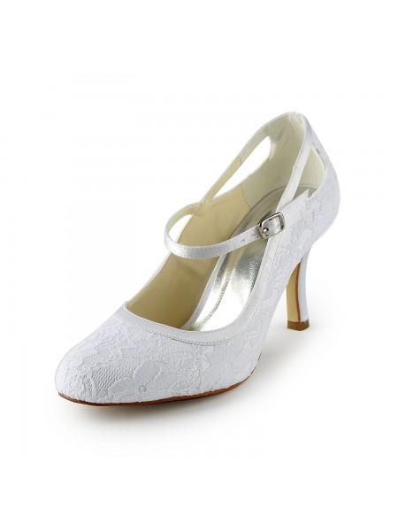 De las mujeres Pretty Satén Tacón de Aguja Pumps Con Buckle Blanco Zapatos de boda