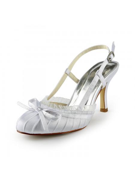 De las mujeres Pretty Satén Tacón de Aguja Sandals Punta Cerrada Con Buckle Blanco Zapatos de boda