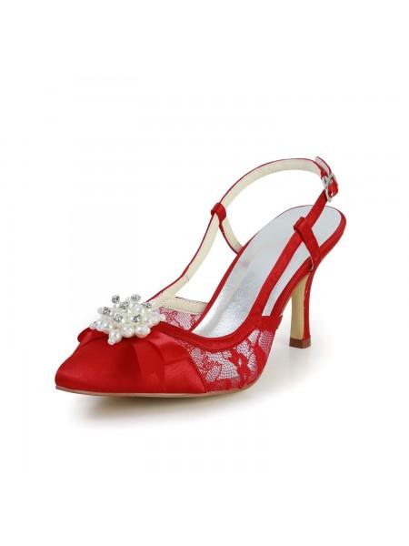De las mujeres Pretty Satén Tacón de Aguja Sandalias Punta Cerrada Con Pearl Red Zapatos de boda