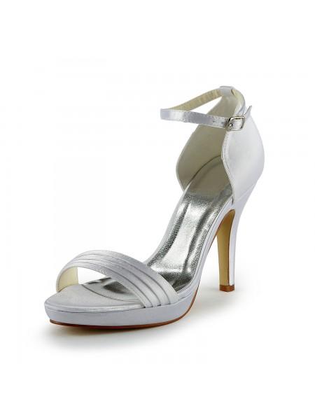 De las mujeres Pretty Satén Tacón de Aguja Sandals Con Buckle Blanco Zapatos de boda