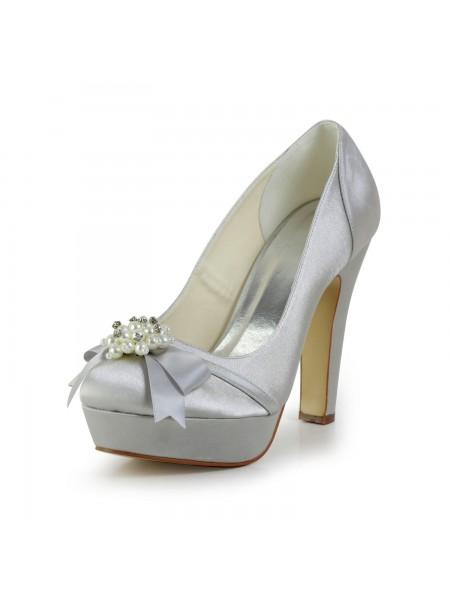 De las mujeres Satén Tacón grueso Punta Cerrada Plataforma Silver Zapatos de boda Con Lazos