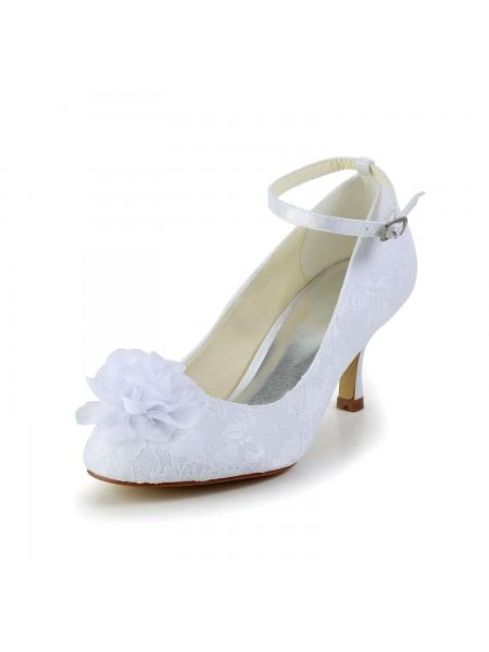 De las mujeres Satén Punta Cerrada Blanco Zapatos de boda Con Flores Buckle