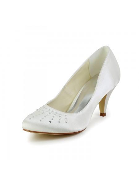 De las mujeres Satén Punta Cerrada Talón de cono Ivory Zapatos de boda Con Estrás