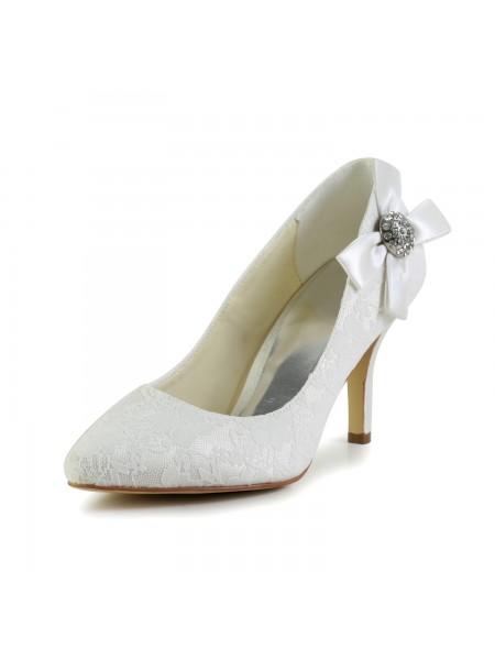 De las mujeres Satén Tacón de Aguja Punta Cerrada Pumps Blanco Zapatos de boda Con Estrás
