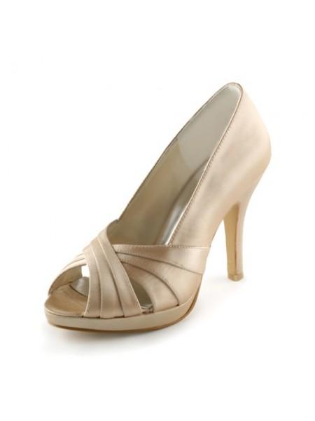 De las mujeres Satén Tacón de Aguja Zapato Abierto por Delante Plataforma Sandalias Champagne Zapatos de boda