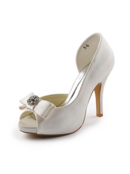 De las mujeres Satén Tacón de Aguja Zapato Abierto por Delante Plataforma Ivory Zapatos de boda Con Lazos