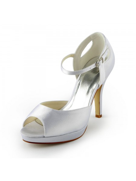 De las mujeres Satén Tacón de Aguja Zapato Abierto por Delante Plataforma Sandals Blanco Zapatos de boda Con Buckle