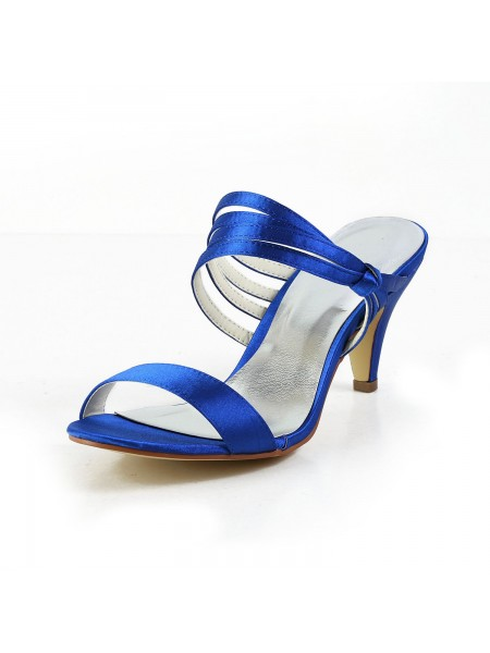 De las mujeres Satén Talón de cono Zapato Abierto por Delante Pumps Zapatos de las sandalias
