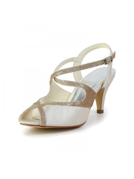 De las mujeres Satén Zapato Abierto por Delante Pumps Sandalias Zapatos de baile Con Estrás