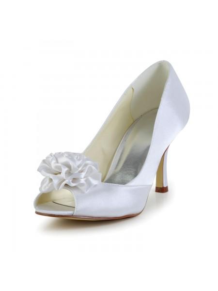 De las mujeres Satén Tacón de Aguja Zapato Abierto por Delante Blanco Zapatos de boda Con Flores