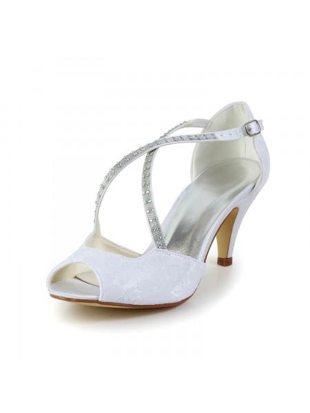 De las mujeres Satén Talón de cono Zapato Abierto por Delante Sandalias Blanco Zapatos de boda Con Estrás Buckle
