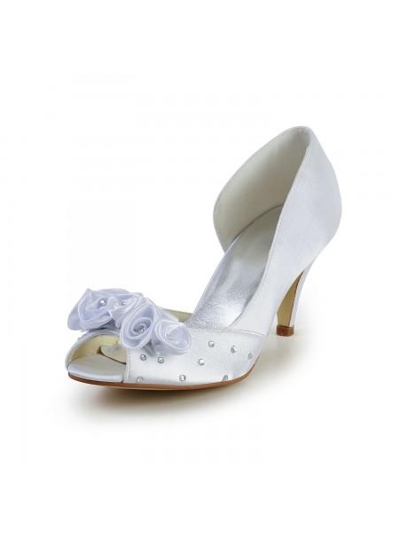 De las mujeres Satén Talón de cono Zapato Abierto por Delante Blanco Zapatos de boda Con Flores Estrás