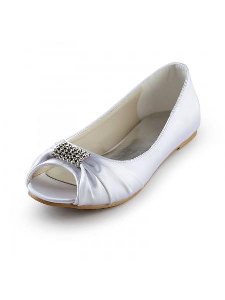 De las mujeres Satén Talón Plano Zapato Abierto por Delante Sandalias Blanco Zapatos de boda Con Estrás