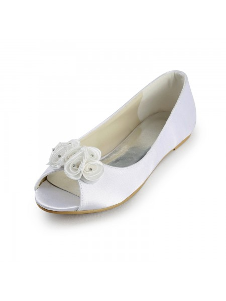 De las mujeres Satén Talón Plano Zapato Abierto por Delante Sandalias Blanco Zapatos de boda Con Satén Flores