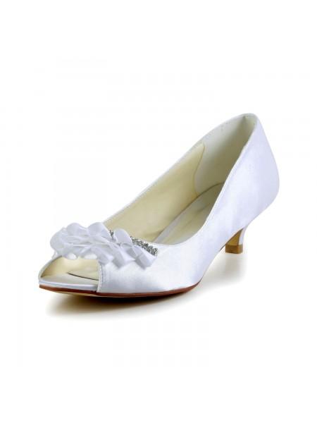 De las mujeres Satén Kitten Heel Zapato Abierto por Delante Sandalias Zapatos de boda Estrás