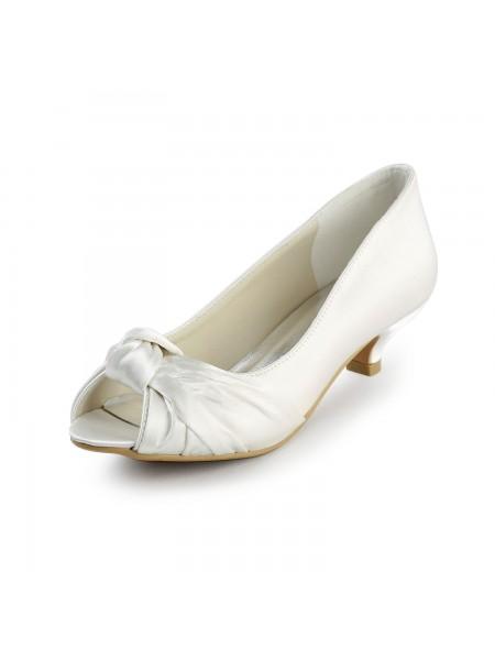 De las mujeres Satén Kitten Heel Zapato Abierto por Delante Sandalias Blanco Zapatos de boda Con Lazos