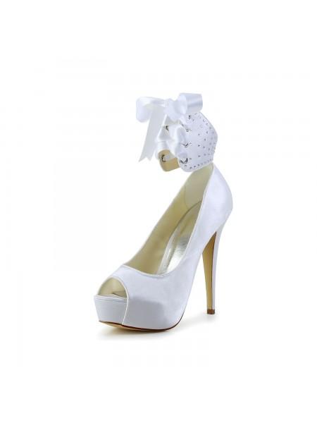 De las mujeres Satén Zapato Abierto por Delante Tacón de Aguja Con Lazos Blanco Zapatos de boda