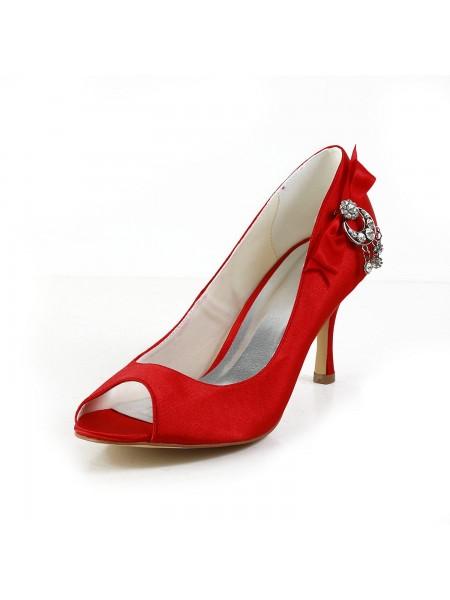 De las mujeres Satén Zapato Abierto por Delante Spool Heel Con Lazos Red Zapatos de boda