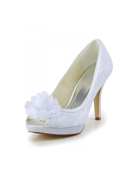 De las mujeres Satén Zapato Abierto por Delante Tacón de Aguja Blanco Zapatos de boda Con Flores