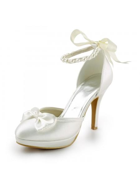 De las mujeres Satén Tacón de Aguja Punta Cerrada Plataforma Pumps Blanco Zapatos de boda Con Lazos