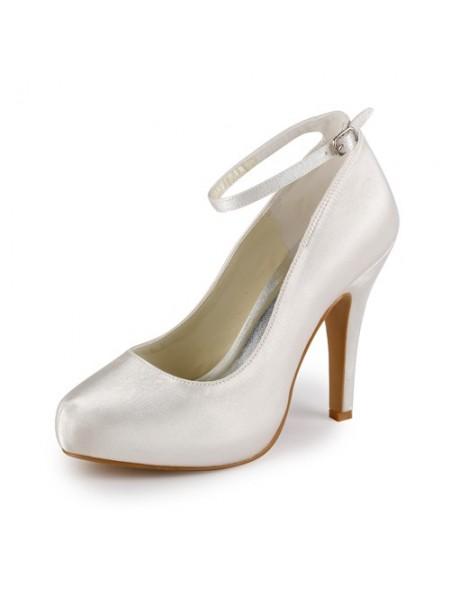 De las mujeres Satén Tacón de Aguja Punta Cerrada Plataforma Ivory Zapatos de boda Con Buckle