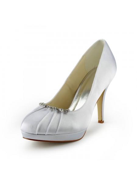 De las mujeres Satén Tacón de Aguja Punta Cerrada Plataforma Blanco Zapatos de boda Con Estrás