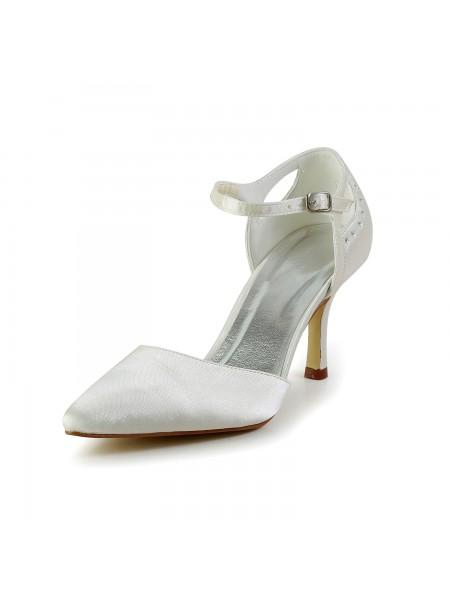 De las mujeres Satén Tacón de Aguja Punta Cerrada Pumps Blanco Zapatos de boda