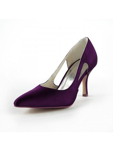 De las mujeres Satén Tacón de Aguja Punta Cerrada Pumps Grape Zapatos de boda