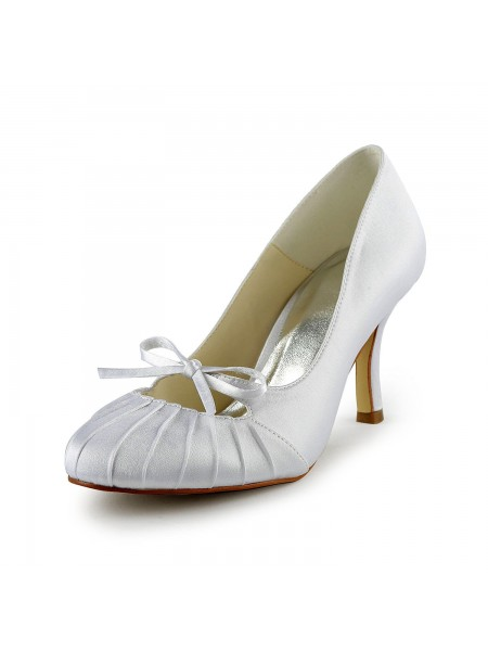 De las mujeres Satén Tacón de Aguja Punta Cerrada Pumps Blanco Zapatos de boda Con Lazos Ruched