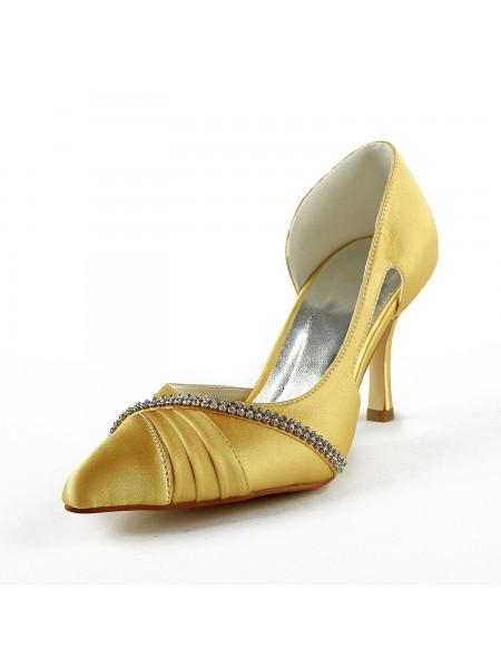 De las mujeres Satén Tacón de Aguja Punta Cerrada Pumps Gold Zapatos de boda Con Estrás