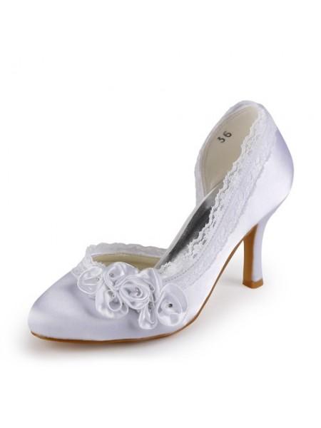 De las mujeres Satén Tacón de Aguja Punta Cerrada Blanco Zapatos de boda Con Estrás