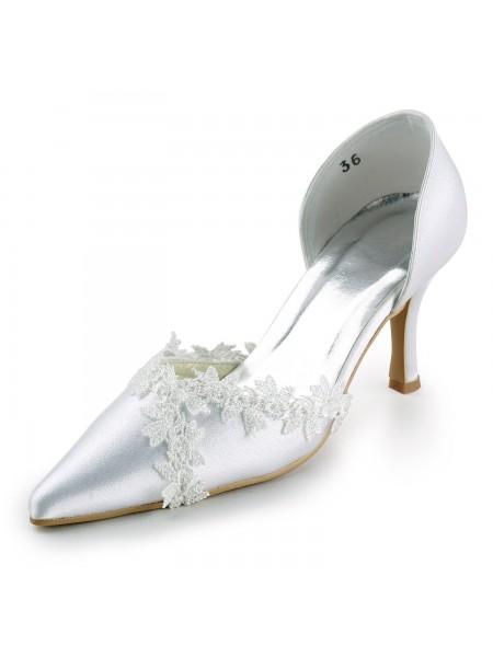 De las mujeres Satén Tacón de Aguja Punta Cerrada Pumps Blanco Zapatos de boda Con Encaje