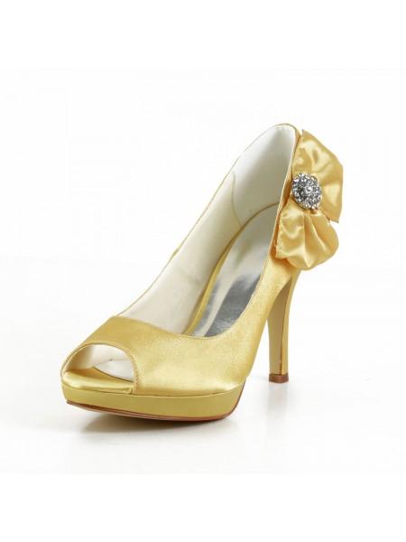 De las mujeres Satén Tacón de Aguja Zapato Abierto por Delante Plataforma Gold Zapatos de boda Con Lazos