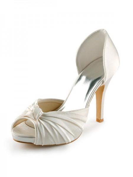 De las mujeres Satén Tacón de Aguja Zapato Abierto por Delante Plataforma Pumps Blanco Zapatos de boda Con Lazos