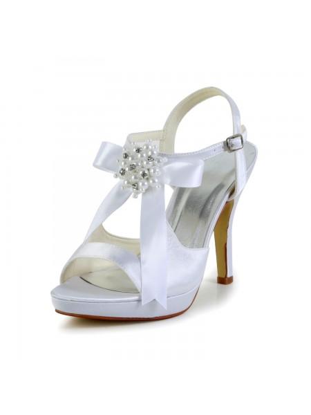 De las mujeres Satén Tacón de Aguja Zapato Abierto por Delante Plataforma Sandalias Blanco Zapatos de boda Con Lazos